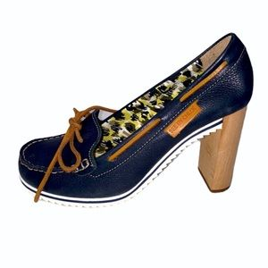 See By Chloe Wooden Heeled Loafers Navy Blue